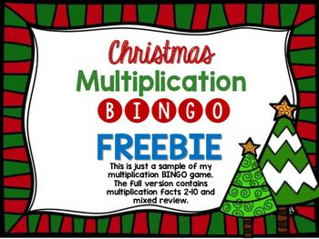 HereS A Free Sample Of My Christmas Multiplication Bingo Game