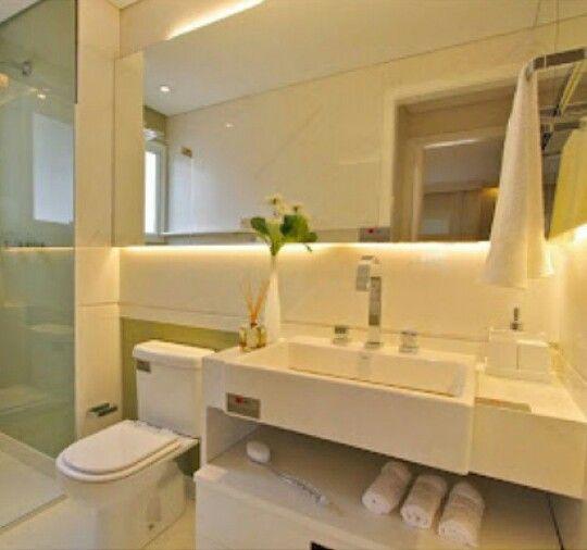 Branquinho, cuba de semi encaixe e fita de led no espelho  banheiro  Pinterest -> Pia Banheiro Semi Encaixe