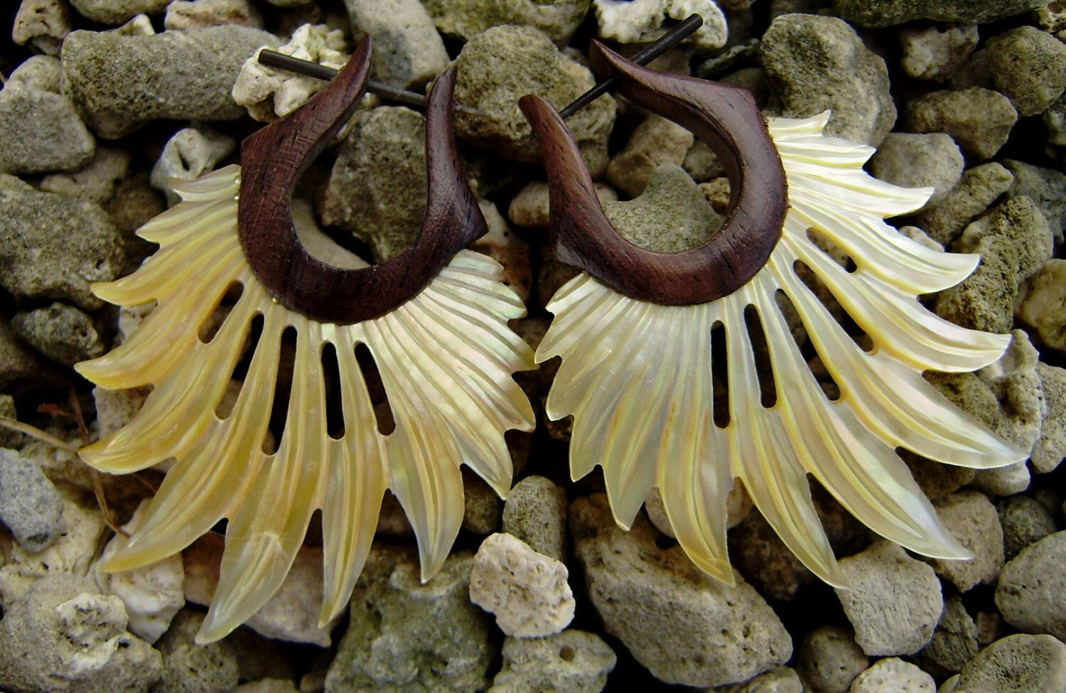Fake Gauge Earrings ,Tribal Style, Mother of pearl, Shell, feather,Gold Shell,hand carved,organic.stick earrings by ANELAJADE on Etsy https://www.etsy.com/listing/157789621/fake-gauge-earrings-tribal-style-mother