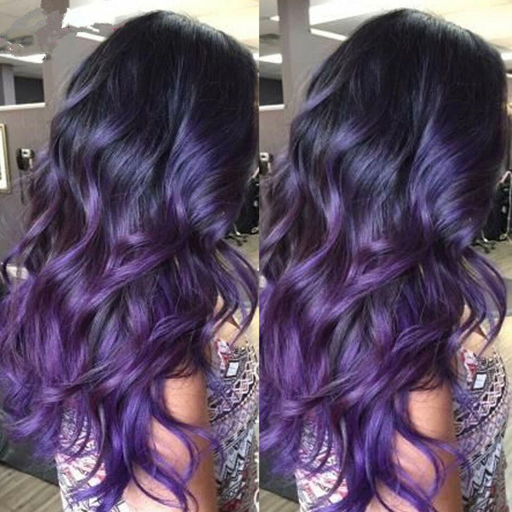 Brazilian Remy 100% Human Hair Wigs Wavy Ombre Purple Lace Front Full Lace Wigs