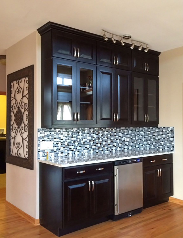 Yorkville Illinois living area renovation features CliqStudios Carlton Birch Sable cabinets