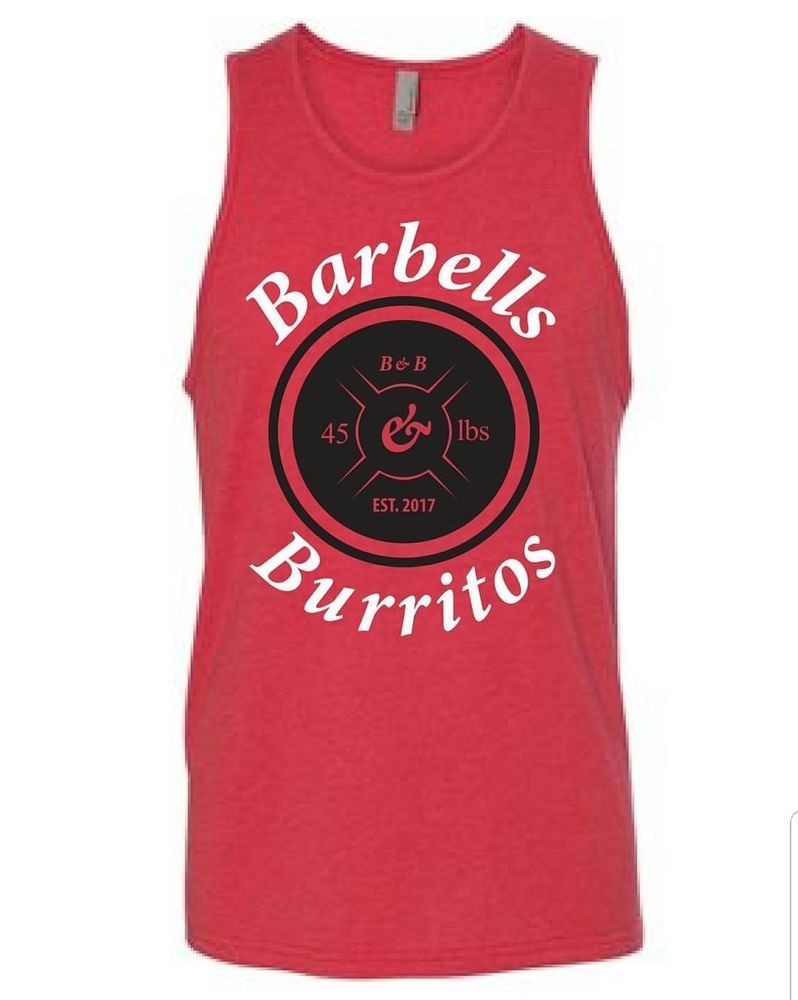 b83a563bd596f Red Workout Tank Top Mens Barbells And Burritos  fashion  clothing  shoes   accessories  mensclothing  shirts (ebay link)