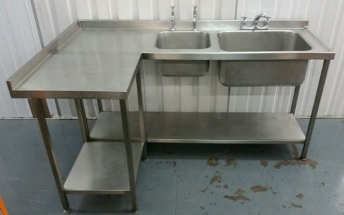 L Shaped Corner Double Deep Bowl Catering Stainless Steel Sink