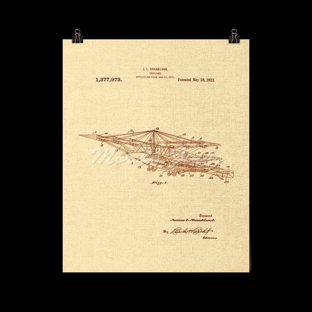 Triplane 1921 Airplane Vintage Aeronautical Patent Art Poster ...