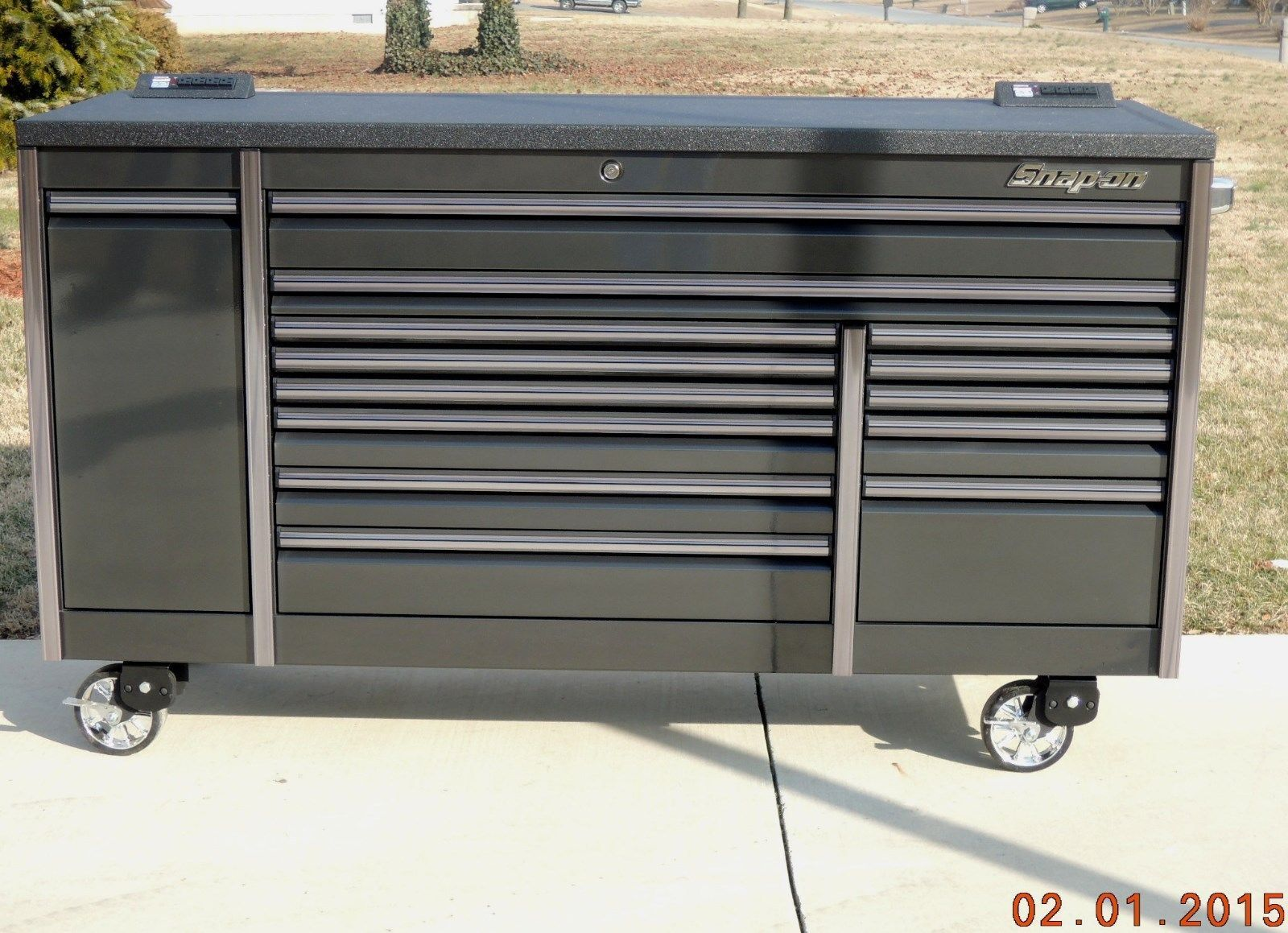 "Snap On 84"" Gun Metal & Titanium Trim Epiq Tool Box"