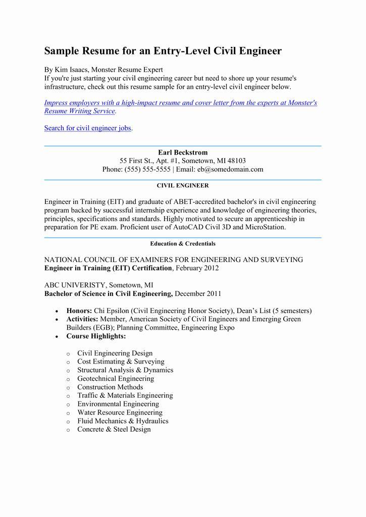 Civil engineering internship resume lovely sample resume