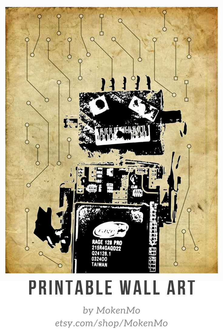 Robot Print College Student Gift Steampunk Decor Instant Downloads ...