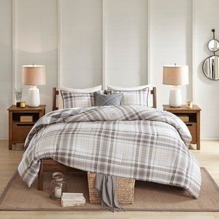 EDINBURGH KING SIZE GREY TARTAN PLAID REVERSIBLE COTTON DUVET SET QUILT COVER
