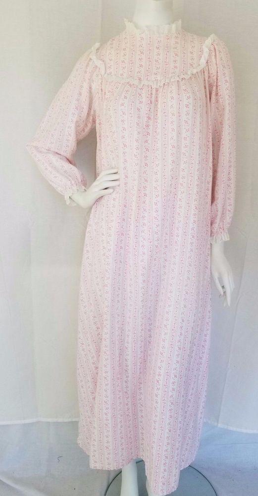 Vtg LANZ OF SALZBURG Super Soft White & Pink Cotton Granny Gown ...