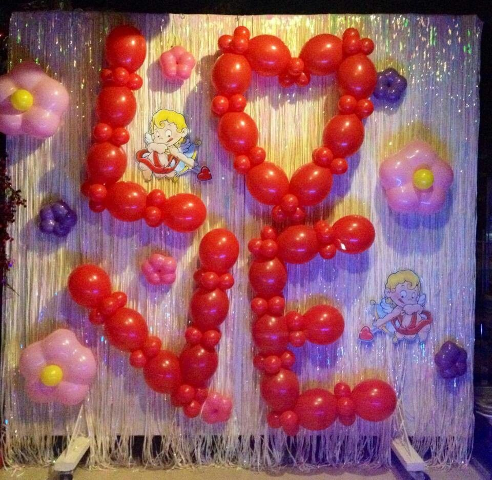 Valentine decoration balloons backdrops murales con for Balloon backdrop decoration