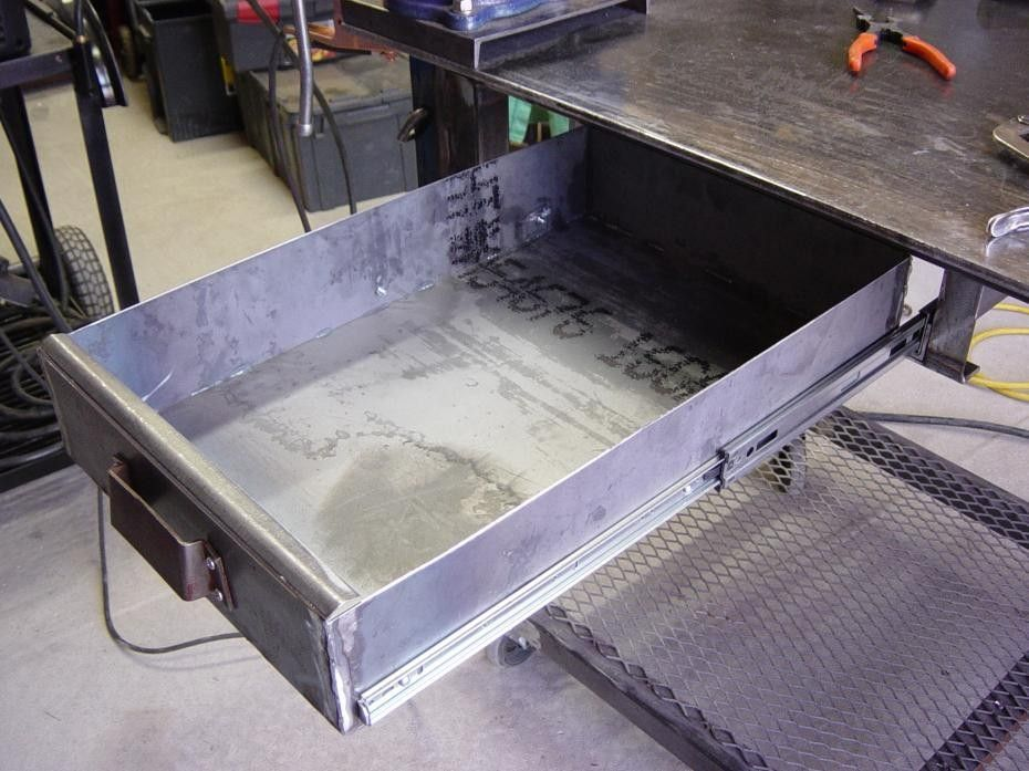 Welding Table Drawer By Nctox Homemade Welding Table Drawer Constructed From 16 Gauge Sheetmetal And Drawer Slides Welding Table Welding Welding Table Diy