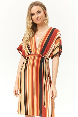 e0ee654fdb9f Plunging Striped Dress in 2019 | Products | Dresses, Striped dress ...