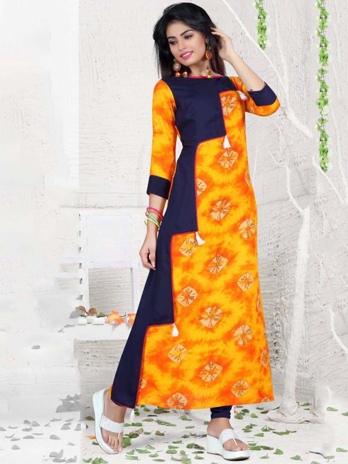 0328c2efe30 Courteous yellow and navy blue reyon casual wear designer kurti ...