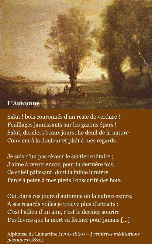 LAMARTINE, L'automne - Commentaire | Poeme francais, Poésie française et Poeme et citation