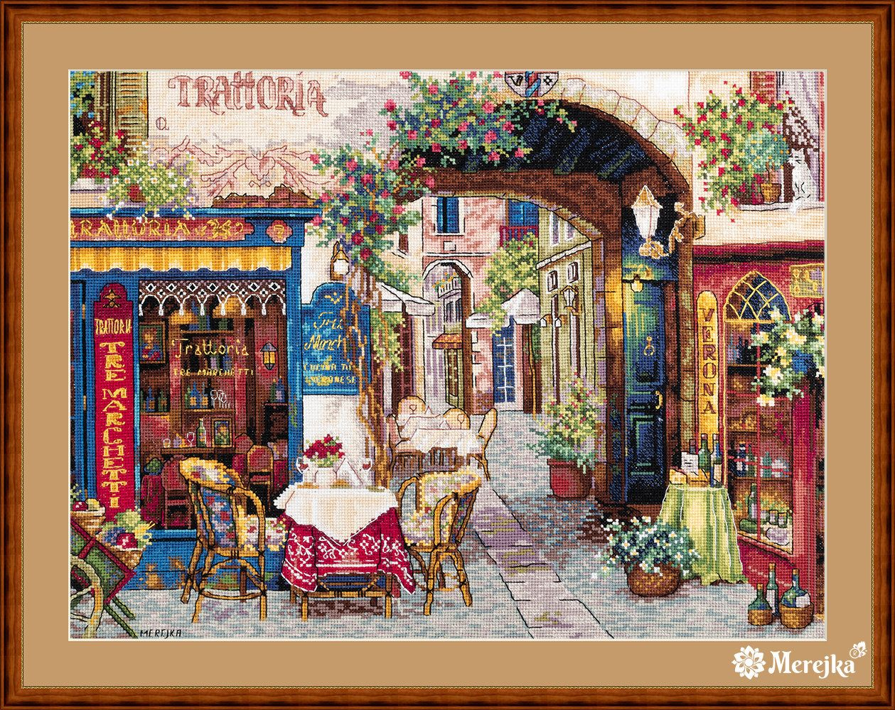 Merejka Cross Stitch Kit Cafe In Verona After V Shvaiko Painting 161 Butterfly Cross Stitch Cross Stitch Kits Cross Stitch