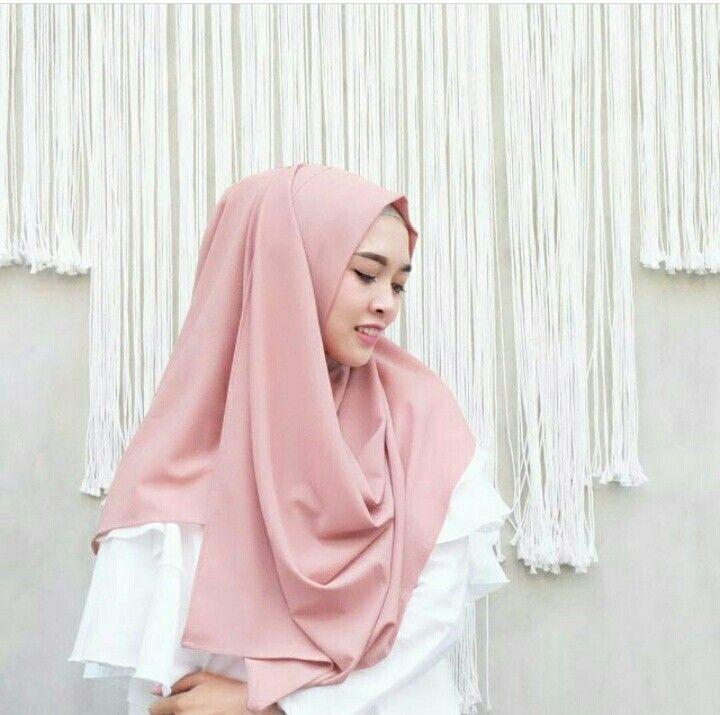 Jilbab Instan Oshi Baby Pink Bahan Diamond Crepe Ukuran 0 75 X 1