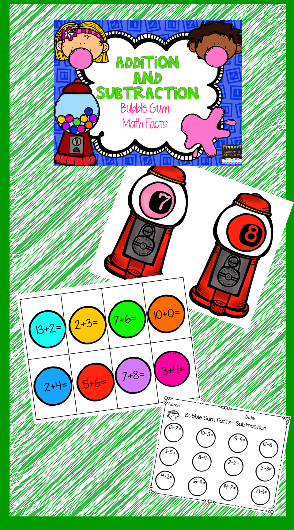 Looking For A Fun Way For Your Students To Practice Their Addition And Subtraction Skills Bubble Gum Math Is T Math Facts Subtraction Addition And Subtraction [ 1728 x 960 Pixel ]
