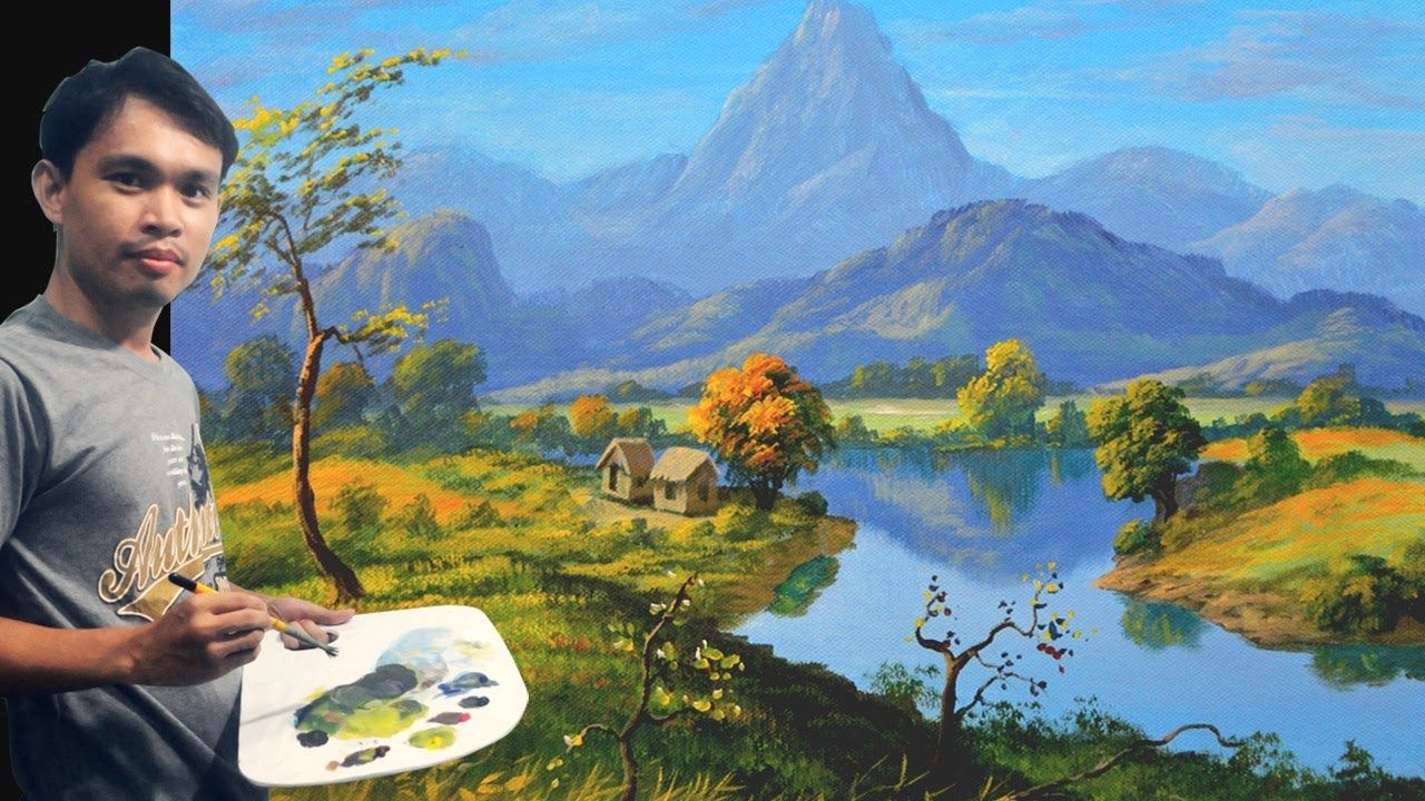 Acrylic Landscape Painting Tutorial With Mountains River And Houses Landscape Paintings Acrylic Canvas Painting Landscape Mountain Paintings