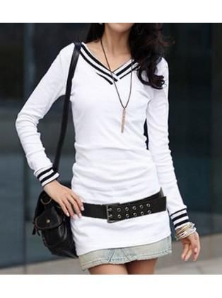 White Cotton Blend Long Sleeve Tees for Female