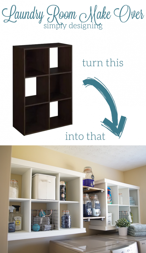 Laundry room make over transformation with diy shelving cubby cubby shelf hack into great laundry room storage solutioingenieria Gallery