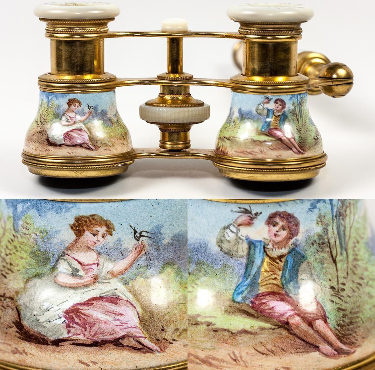 Superb 19th c. French Kiln-fired Enamel Opera Glasses, Binoculars, Lorgnette handle, Colmont, PARIS