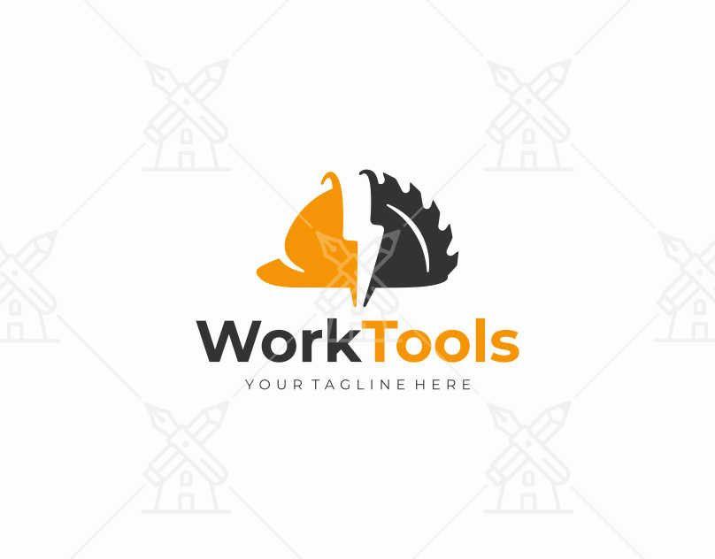 Construction Equipment Logo Design Power Tools And Construction Helmet Vector Design Building Tool Tool Logo Design Construction Logo Hard Hat Logo