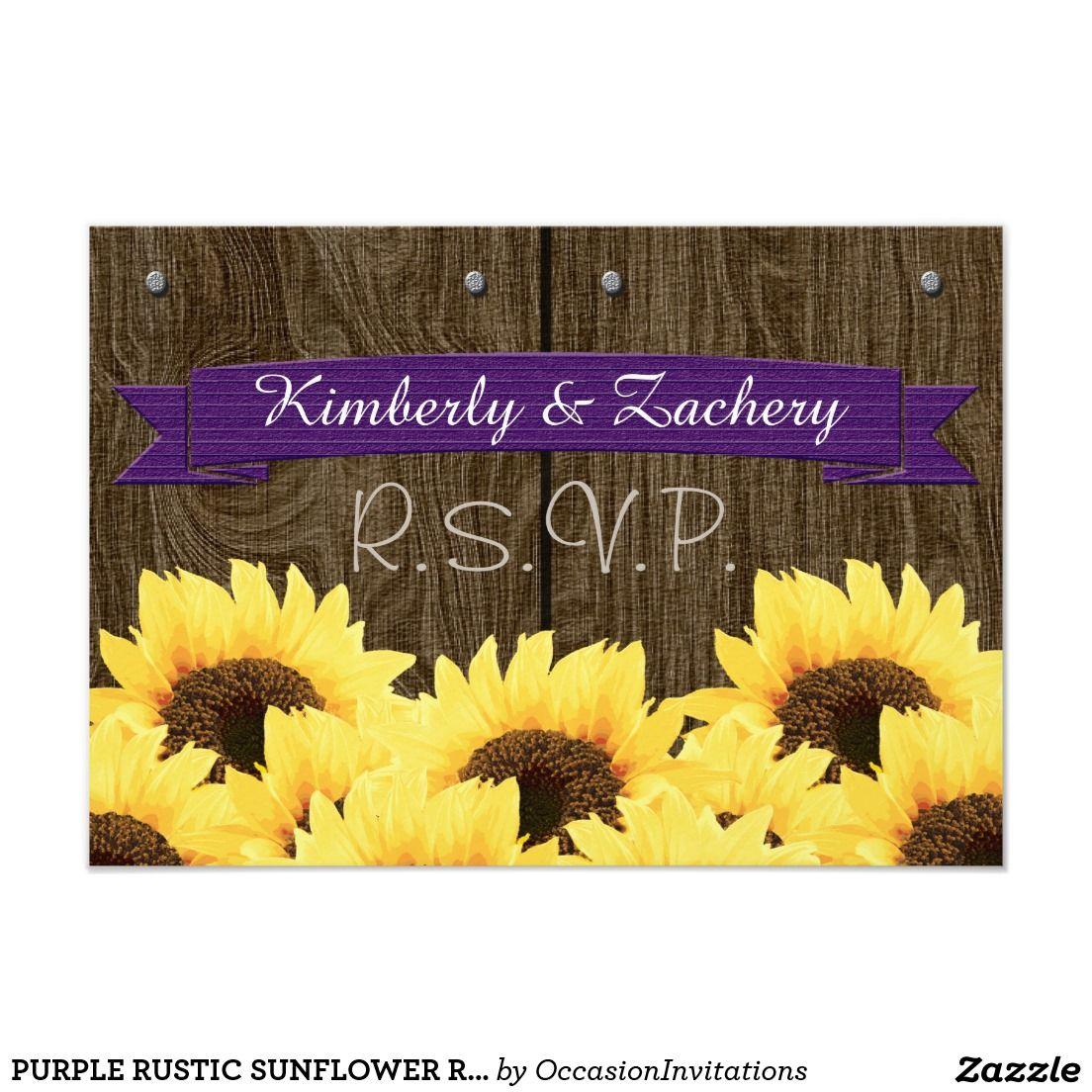 PURPLE RUSTIC SUNFLOWER RSVP CARD Sunflower