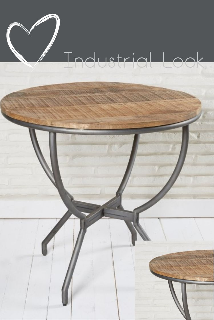 Runder Esstisch 78cm Im Industrial Look Tisch Esstisch Esszimmertisch Kuchentisch Metall Holz Industrial Holz Einrichtung Home Decor Furniture Table