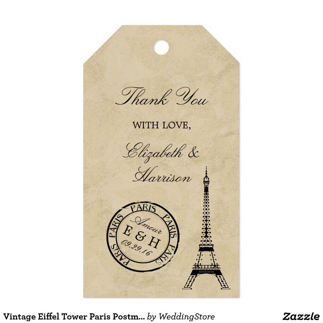 Vintage Eiffel Tower Paris Postmark Wedding Favor Gift Tags ...