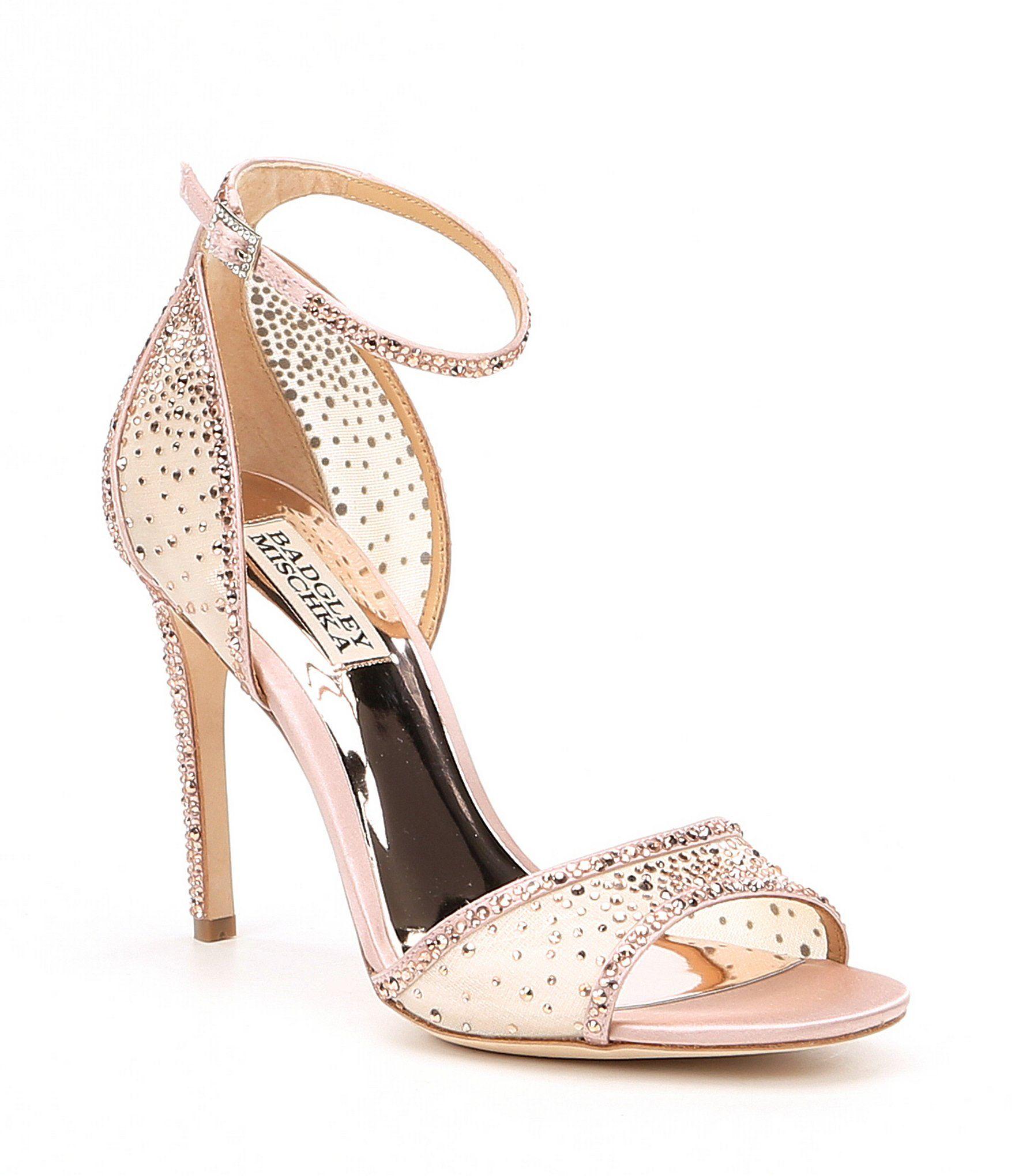 d630158e291 Badgley Mischka Shiraz Mesh and Satin Rhinestone Detail Ankle Strap PeepToe  Dress Sandals  Dillards