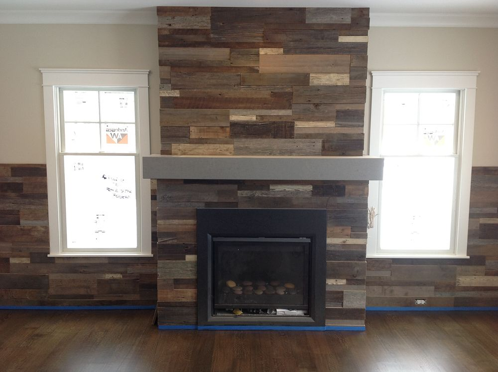 Pictures Of Fireplace Made With Pallets In Chevron Pattern