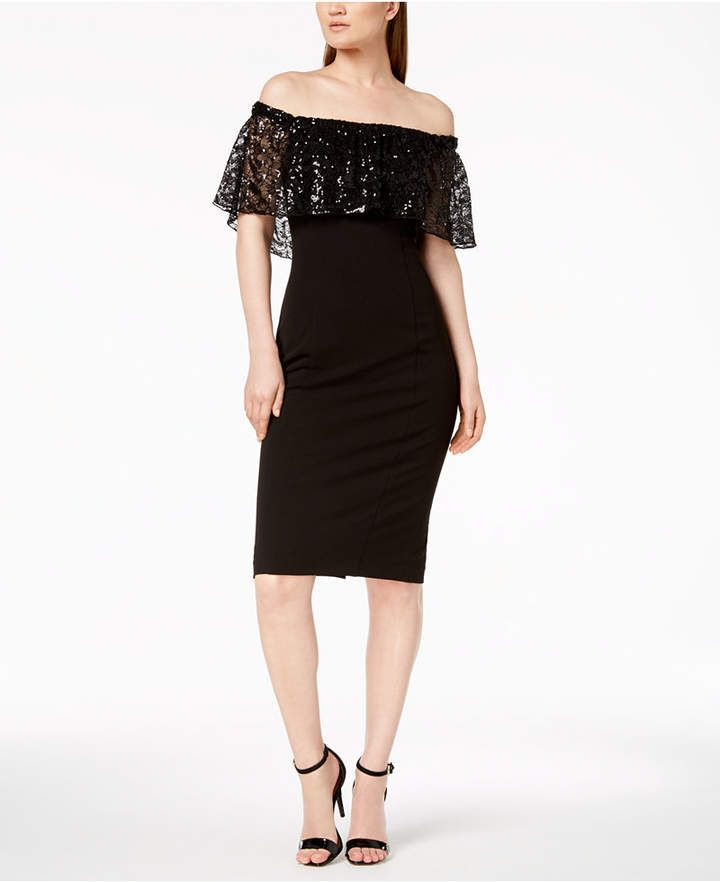 Calvin Klein Off The Shoulder Sequined Lace Dress Cosas