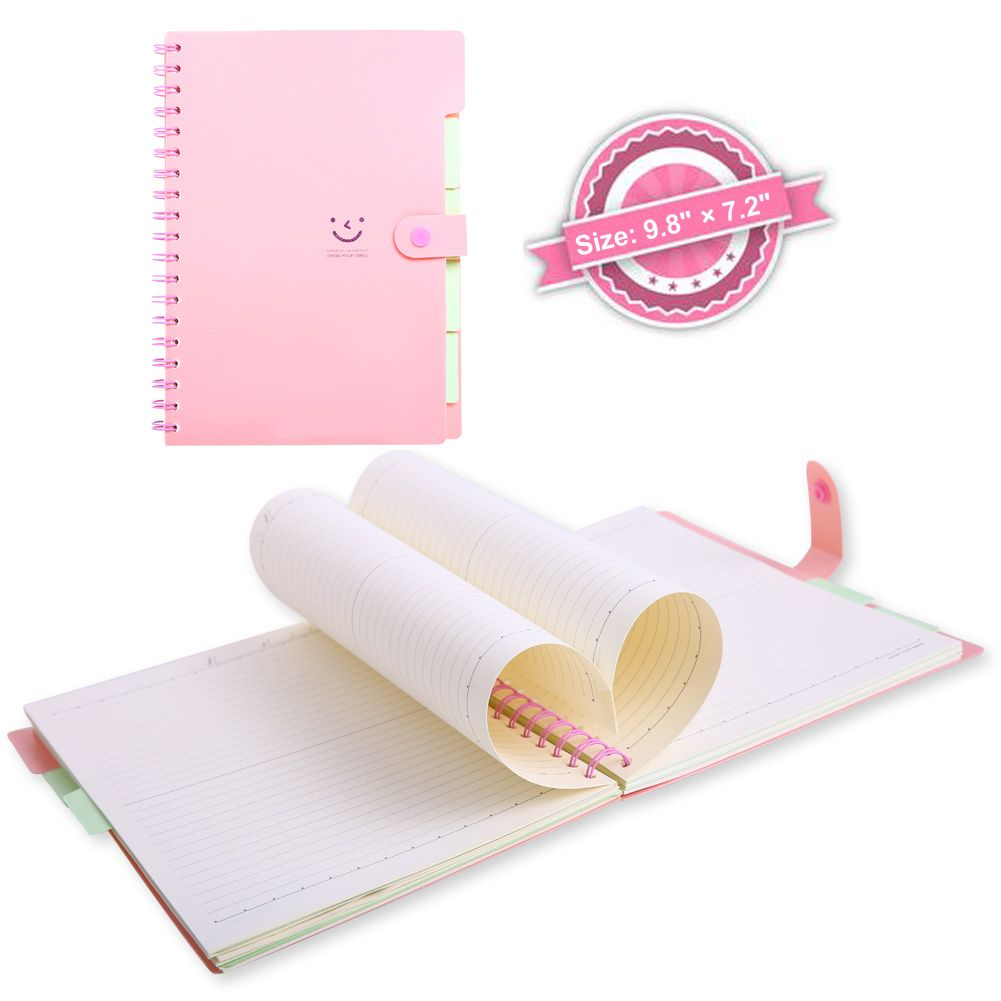 Spiral Notebook, 5 Subject Notebooks, Cute Diary, Wide