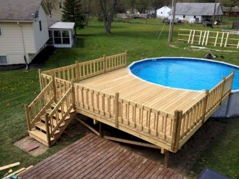 55 Wonderful Ground Pool Decorating Ideas Pool Deck Plans Round Above Ground Pool Swimming Pool Decks