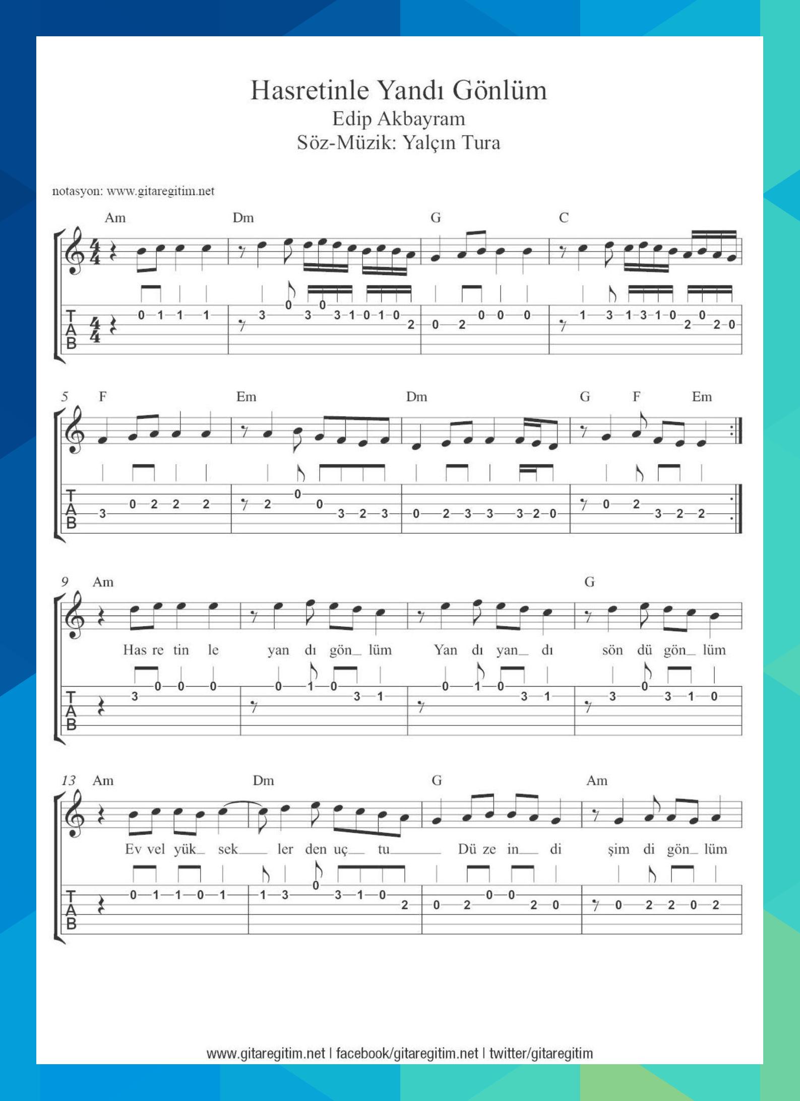 Hasretinle Yandi Gonlum Nota Tab Akor Alena81494 Muzik Notalari Muzik Muzik Egitimi