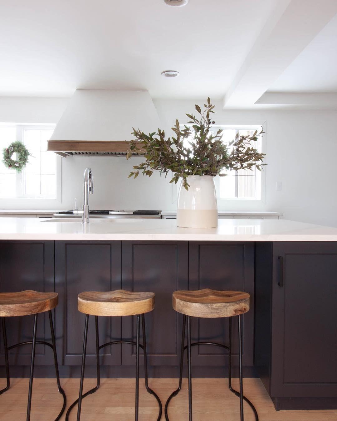 White Kitchen Contrasting Dark Island Blue Island Black Island Black Hardware Floating Shelve White Kitchen Decor White Kitchen White Kitchen Cabinets Diy