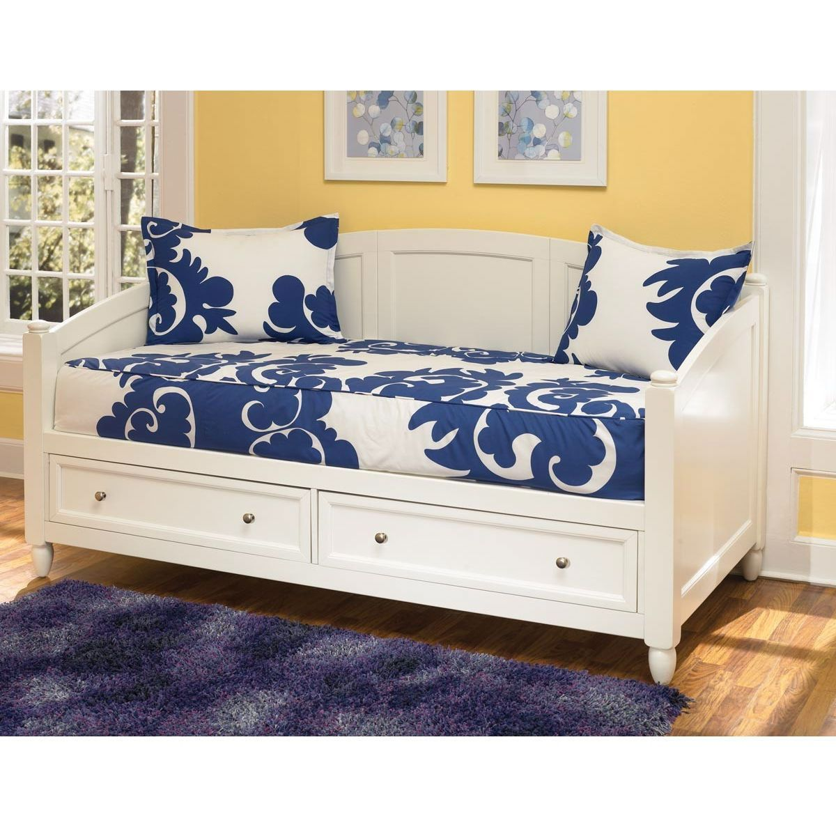 Twin size Contemporary White Wood Daybed with 2 Storage