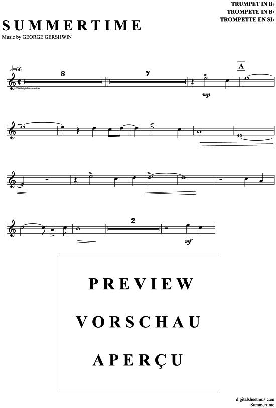 Summertime (Trompete in B) Gershwin [PDF Noten