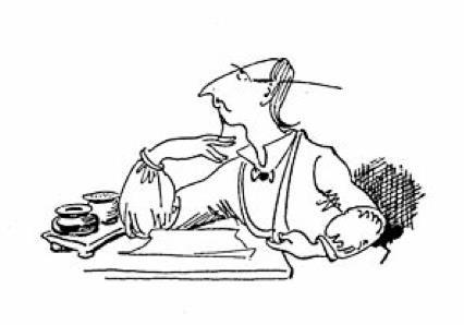 """Balduin Bähmann - von Wilhelm Busch  Da hat sich seit den Zeiten der Schreibfeder nichts geändert: das Warten auf den Musenkuss ... oder die göttliche Eingebung.          Zitat aus """"Balduin Bählamm, der verhinderte Dichter"""": """"Wie wohl ist dem, der dann und wann // sich etwas Schönes dichten kann!"""" (1. Kapitel)"""