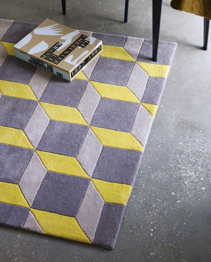 Geometric Rug Yellow Grey