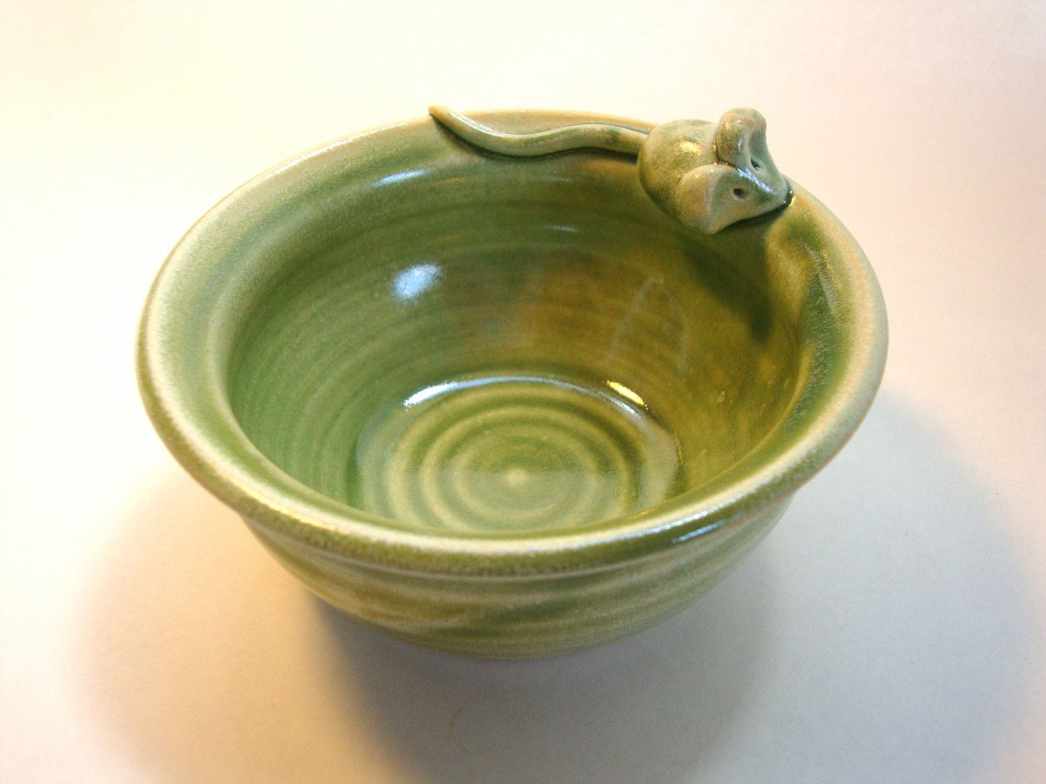 Mouse Bowl in Spearmint Green by village pottery pei by VillagePottery on Etsy