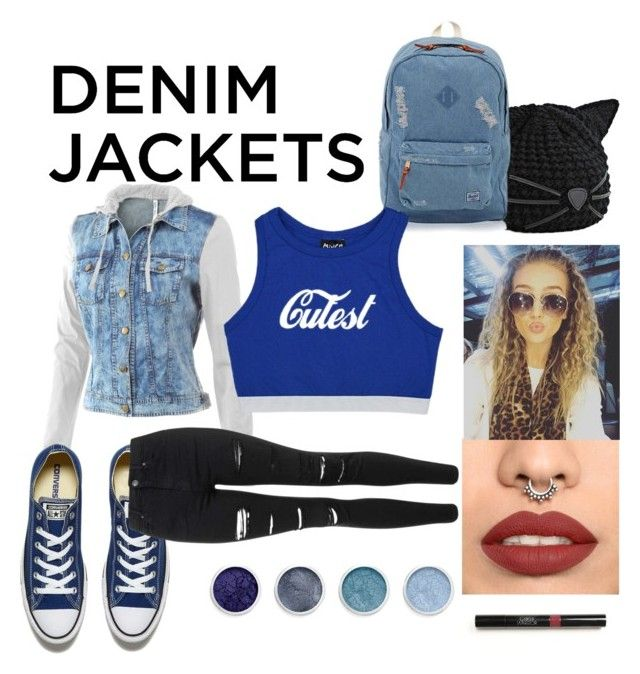 """""""Cutest demin"""" by evelyn-evi ❤ liked on Polyvore featuring Karl Lagerfeld, Mur Mur, Converse, Herschel, Topshop, Terre Mère, denimjackets and WardrobeStaples"""