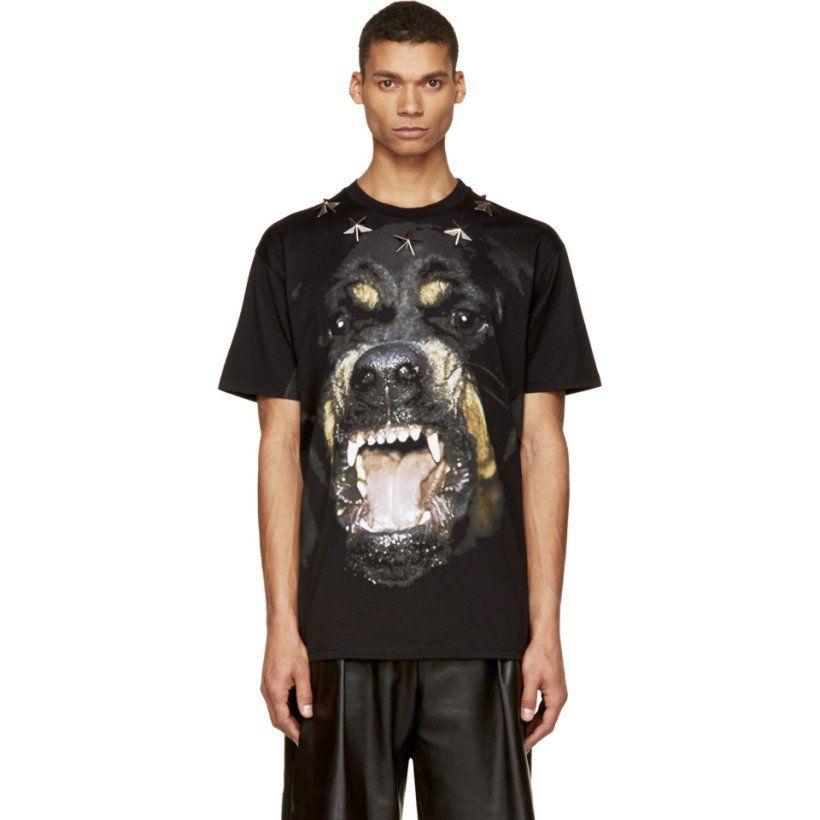 GIVENCHY Black Rottweiler Print Star-Studded T-Shirt  38bfdaad1