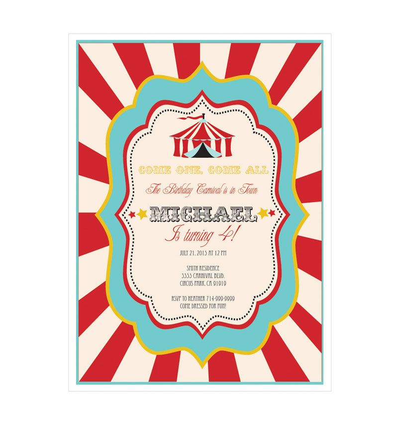 Circus Carnival Party Invitations wedding favors | Z\'s Carnival ...