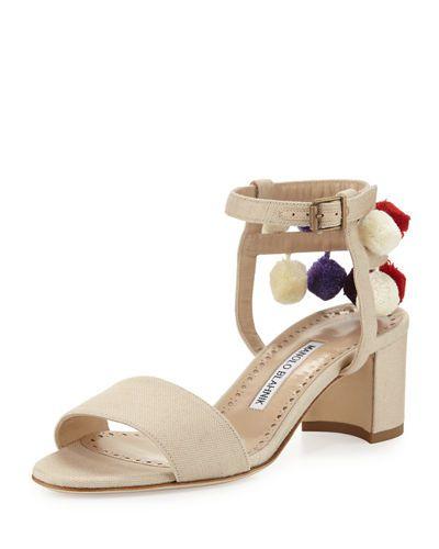2b63eac32d4a6 Pompom Linen Block-Heel Sandal. Pompom Linen Block-Heel Sandal Manolo  Blahnik Shoes ...
