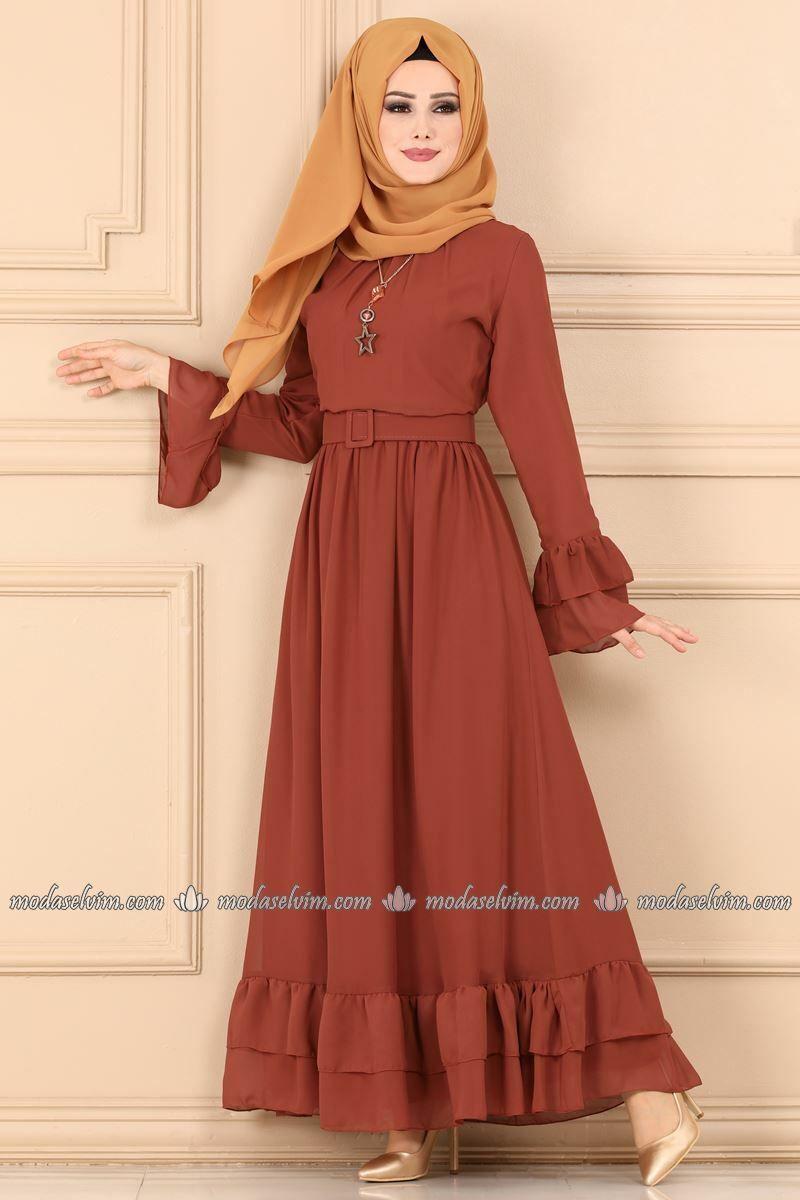 Moda Selvim Firfirli Elbise 2062ab368 Kiremit Sifon Elbise Moda Stilleri Elbise