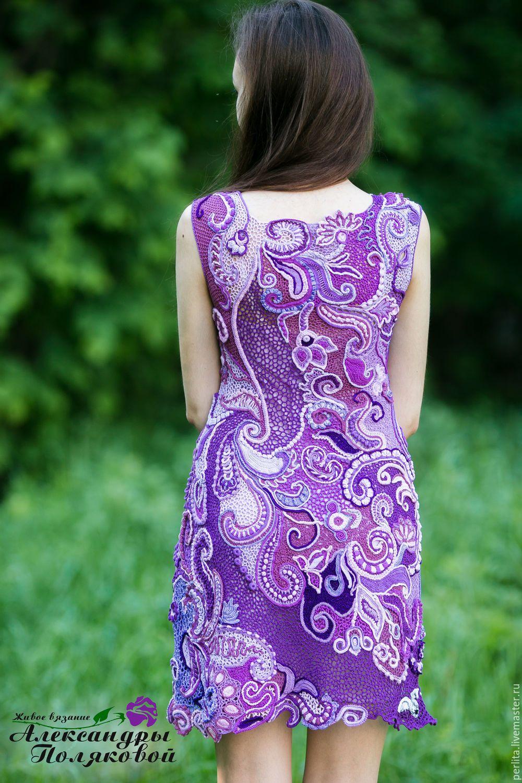 Купить Вязаное крючком платье Птицы белые мои - сиреневый, рисунок, Платье…