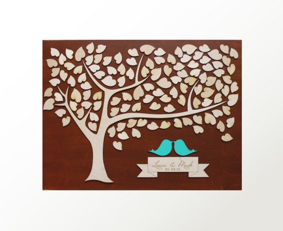 Wood LARGE Wedding Guest Book Alternative 3D Unique by signINstyle  //  $94