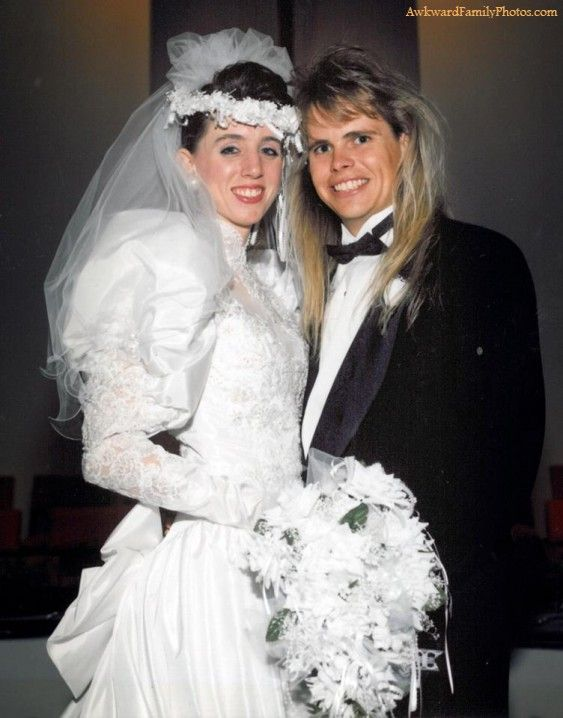 I Now Pronounce You Mullet And Wife Awkwardfamilyphotos Com 06 8 2012 Horrible Wedding Dress Awkward Wedding Photos Vintage Bride