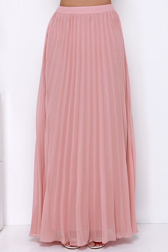 Soothe Sailing Blush Pleated Maxi Skirt | Pleated maxi